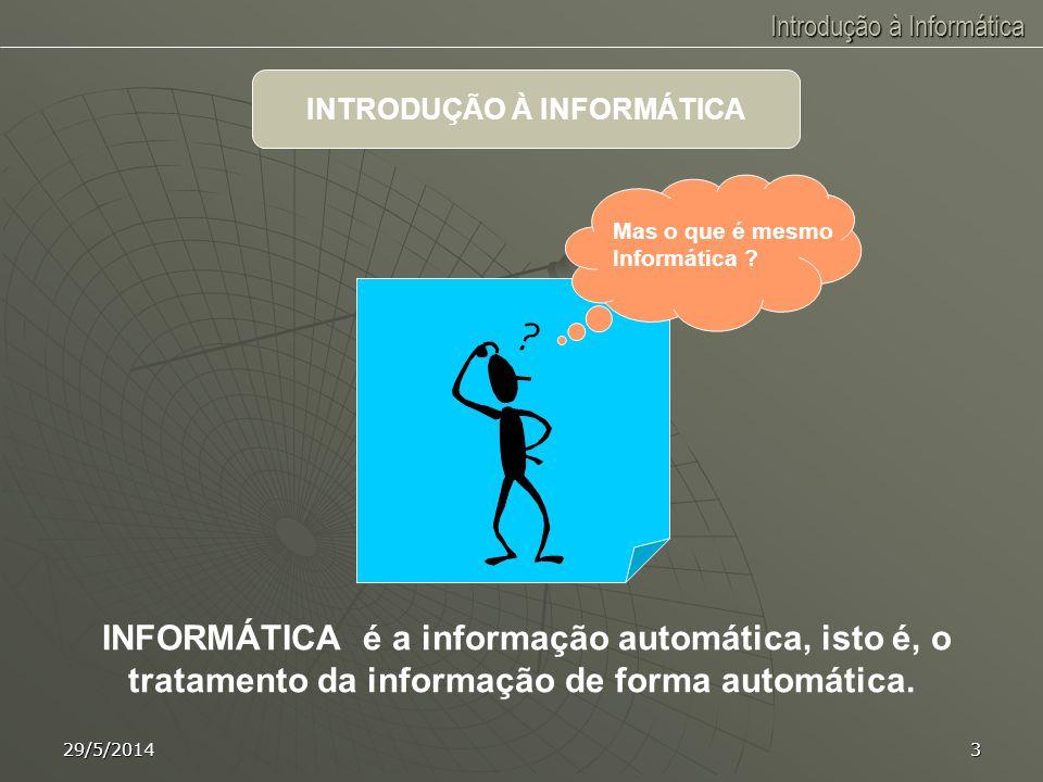 Introdução à Informática 29/5/20142 INTRODUÇÃO À INFORMÁTICA OBJETIVO Capacitar o aluno a trabalhar com o computador, realizando tarefas básicas essen
