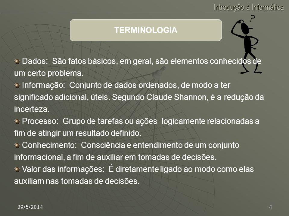 Introdução à Informática 29/5/20143 INFORMÁTICA é a informação automática, isto é, o tratamento da informação de forma automática. INTRODUÇÃO À INFORM