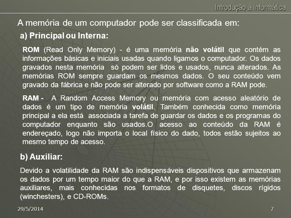 Introdução à Informática 29/5/20146 HARDWARE É o conjunto de componentes físicos de um sistema computacional. Principais componentes físicos de um sis