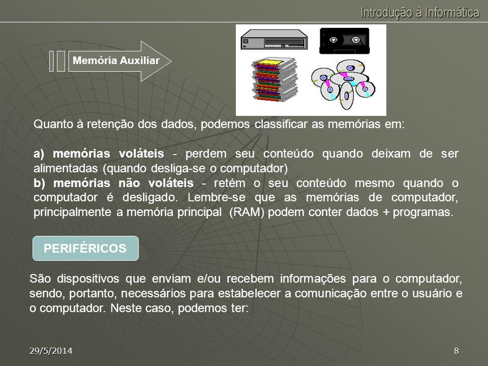 Introdução à Informática 29/5/20147 A memória de um computador pode ser classificada em: a) Principal ou Interna: ROM (Read Only Memory) - é uma memór