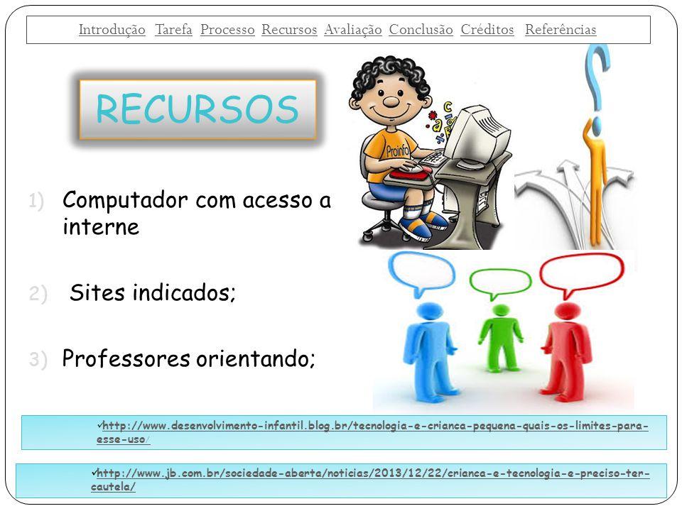 1) Computador com acesso a interne 2) Sites indicados; 3) Professores orientando; RECURSOS IntroduçãoIntrodução Tarefa Processo Recursos Avaliação Con