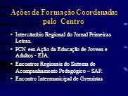 Ações de Formação Coordenadas pelo Centro Intercâmbio Regional do Jornal Primeiras Letras. PCN em Ação da Educação de Jovens e Adultos - EJA. Encontro
