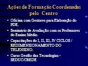 Ações de Formação Coordenadas pelo Centro Oficina com Gestores para Elaboração do PDE. Seminário de Avaliação com os Professores do Ensino Médio. Capa