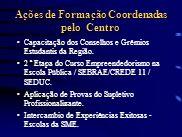 Ações de Formação Coordenadas pelo Centro Capacitação dos Conselhos e Grêmios Estudantis da Região. 2 ª Etapa do Curso Empreendedorismo na Escola Públ