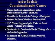 Ações Sociais Coordenadas pelo Centro Capacitação de Agricultores sobre Planejamento Rural - SEBRAE Reunião da Pastoral da Criança - Catequese Projeto