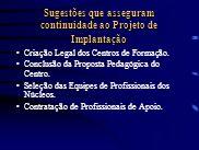 Sugestões que asseguram continuidade ao Projeto de Implantação Criação Legal dos Centros de Formação. Conclusão da Proposta Pedagógica do Centro. Sele