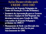Ações Desenvolvidas pelo CREDE - 2002/2003 Elaboração da Proposta Pedagógica do Centro de Formação (Versão Preliminar) Seminário de Apresentação para