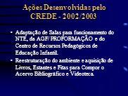 Ações Desenvolvidas pelo CREDE - 2002/2003 Adaptação de Salas para funcionamento do NTE, da AGF/ PROFORMAÇÃO e do Centro de Recursos Pedagógicos de Ed