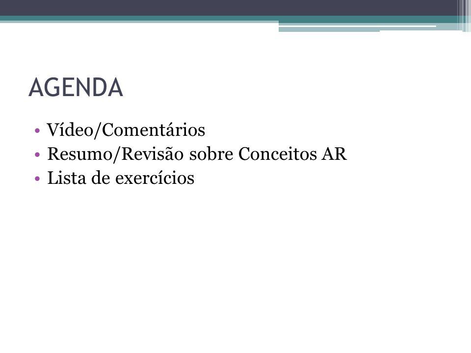 AGENDA Vídeo/Comentários Resumo/Revisão sobre Conceitos AR Lista de exercícios
