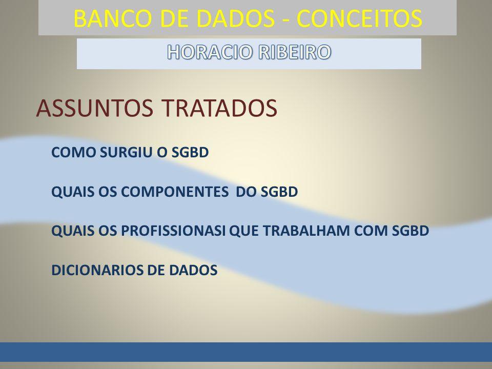 BANCO DE DADOS - CONCEITOS COMO SURGIU O SGBD QUAIS OS COMPONENTES DO SGBD QUAIS OS PROFISSIONASI QUE TRABALHAM COM SGBD DICIONARIOS DE DADOS ASSUNTOS TRATADOS