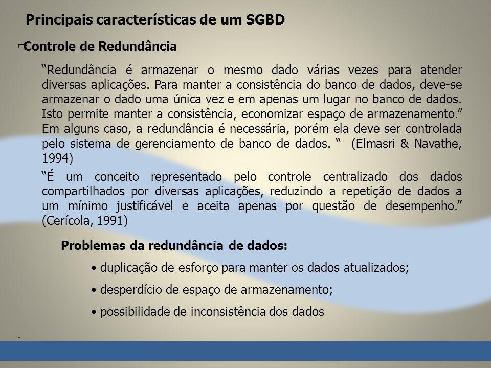 Principais características de um SGBD Controle de Redundância Redundância é armazenar o mesmo dado várias vezes para atender diversas aplicações.