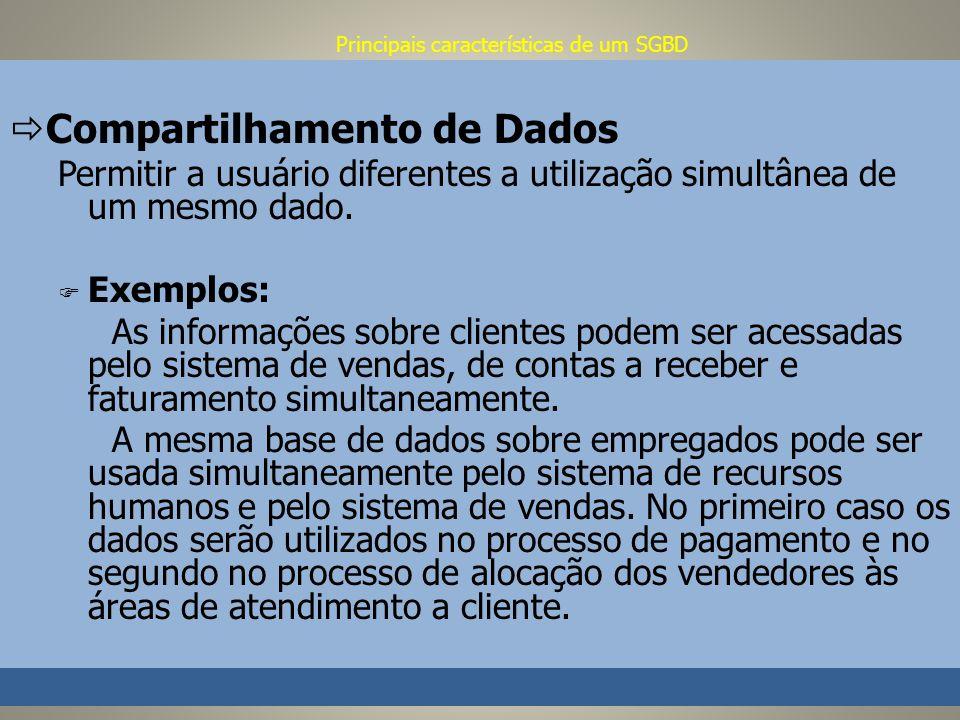 Principais características de um SGBD Compartilhamento de Dados Permitir a usuário diferentes a utilização simultânea de um mesmo dado.