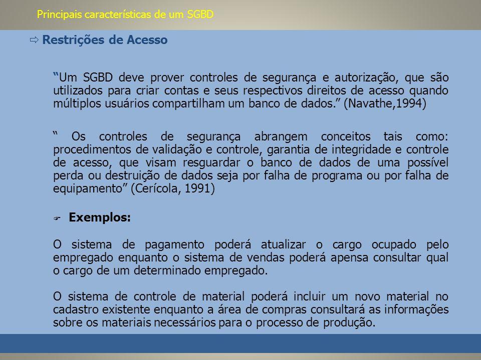 Principais características de um SGBD Restrições de Acesso Um SGBD deve prover controles de segurança e autorização, que são utilizados para criar contas e seus respectivos direitos de acesso quando múltiplos usuários compartilham um banco de dados.