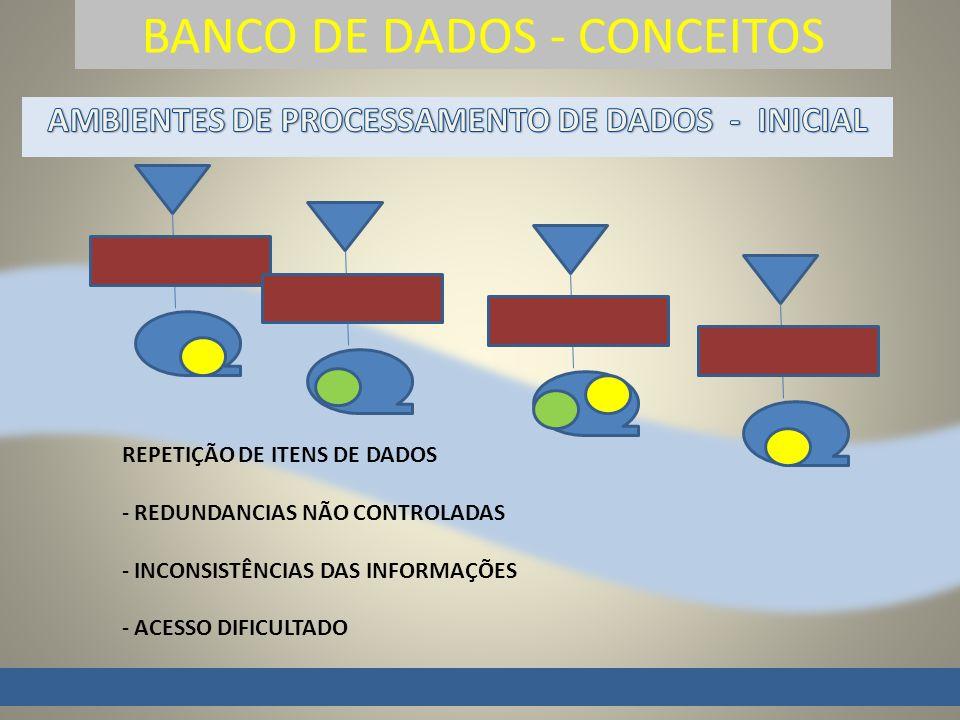 BANCO DE DADOS - CONCEITOS REPETIÇÃO DE ITENS DE DADOS - REDUNDANCIAS NÃO CONTROLADAS - INCONSISTÊNCIAS DAS INFORMAÇÕES - ACESSO DIFICULTADO