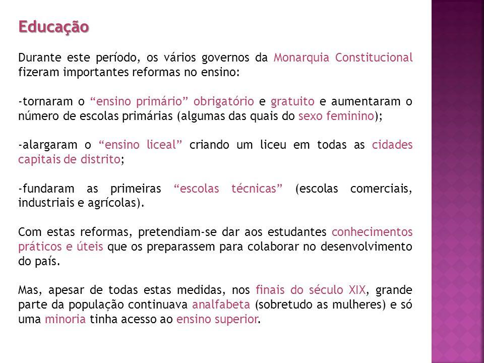 Educação Durante este período, os vários governos da Monarquia Constitucional fizeram importantes reformas no ensino: -tornaram o ensino primário obri