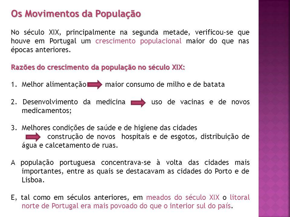 Os Movimentos da População No século XIX, principalmente na segunda metade, verificou-se que houve em Portugal um crescimento populacional maior do qu