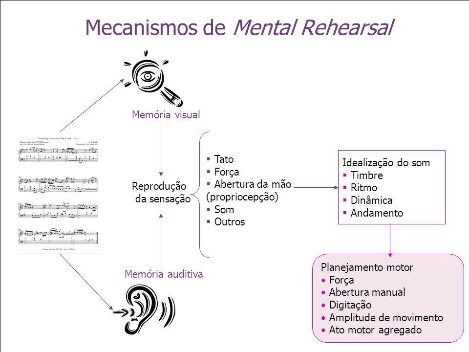 Mecanismos de Mental Rehearsal Memória visual Memória auditiva Reprodução da sensação Tato Força Abertura da mão (propriocepção) Som Outros Idealizaçã