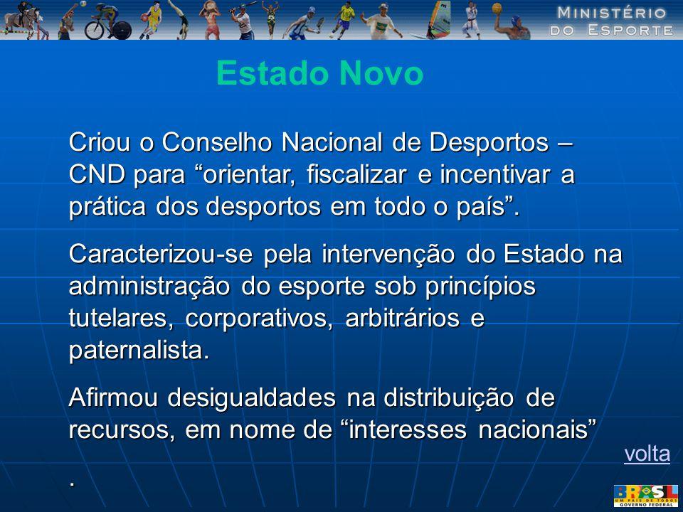 Criou o Conselho Nacional de Desportos – CND para orientar, fiscalizar e incentivar a prática dos desportos em todo o país. Caracterizou-se pela inter