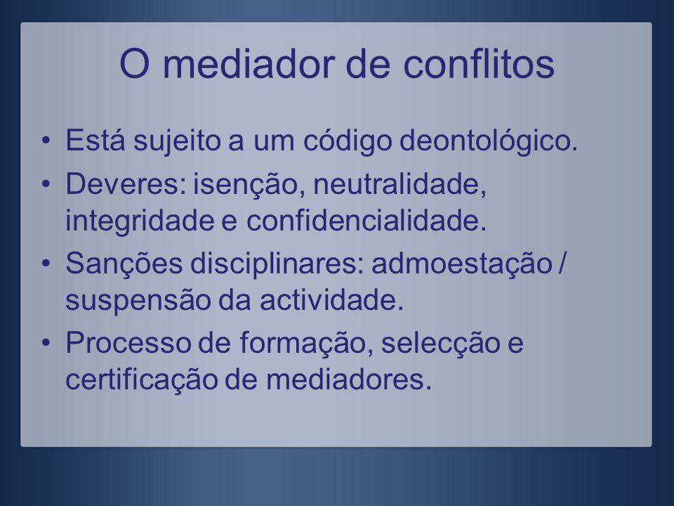 O mediador de conflitos Está sujeito a um código deontológico. Deveres: isenção, neutralidade, integridade e confidencialidade. Sanções disciplinares: