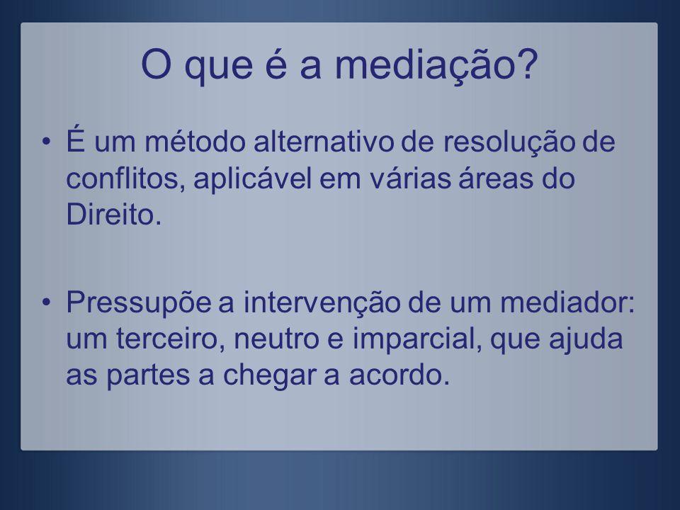 O que é a mediação? É um método alternativo de resolução de conflitos, aplicável em várias áreas do Direito. Pressupõe a intervenção de um mediador: u
