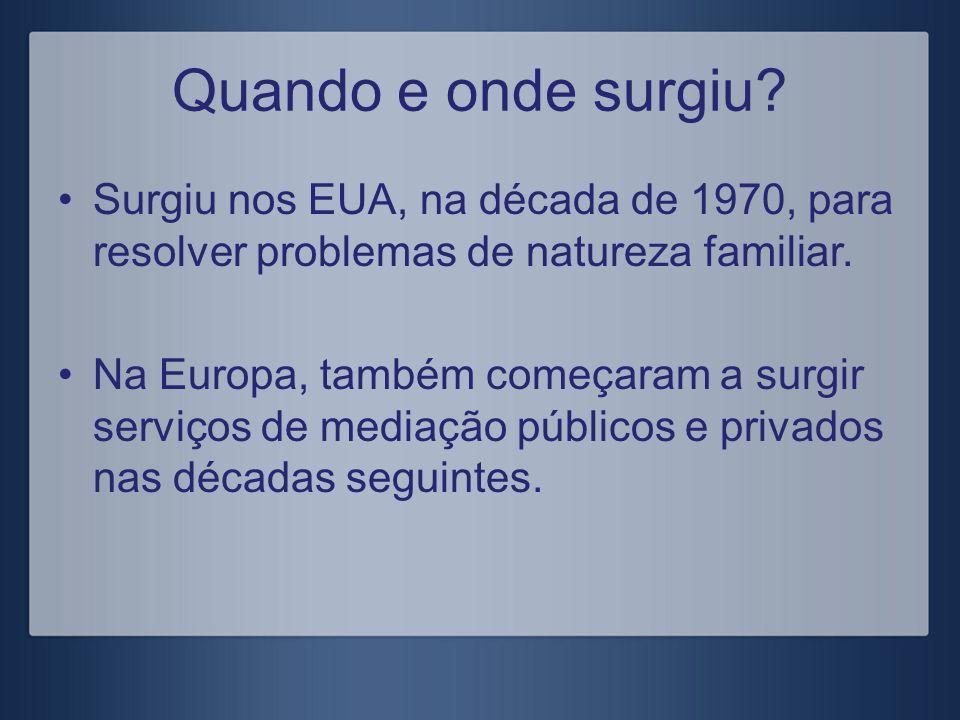 A mediação em Portugal Criação do gabinete de Mediação Familiar (1997), com competência para os conflitos parentais e para a investigação.