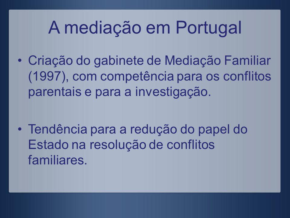 A mediação em Portugal Criação do gabinete de Mediação Familiar (1997), com competência para os conflitos parentais e para a investigação. Tendência p