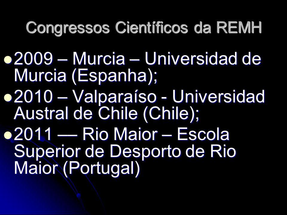 Congressos Científicos da REMH 2009 – Murcia – Universidad de Murcia (Espanha); 2009 – Murcia – Universidad de Murcia (Espanha); 2010 – Valparaíso - Universidad Austral de Chile (Chile); 2010 – Valparaíso - Universidad Austral de Chile (Chile); 2011 –– Rio Maior – Escola Superior de Desporto de Rio Maior (Portugal) 2011 –– Rio Maior – Escola Superior de Desporto de Rio Maior (Portugal)