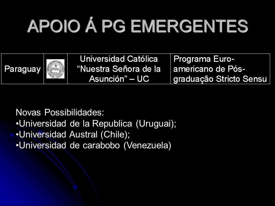 APOIO Á PG EMERGENTES Novas Possibilidades: Universidad de la Republica (Uruguai); Universidad Austral (Chile); Universidad de carabobo (Venezuela)