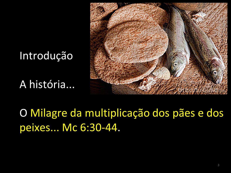 3 Introdução A história... O Milagre da multiplicação dos pães e dos peixes... Mc 6:30-44.