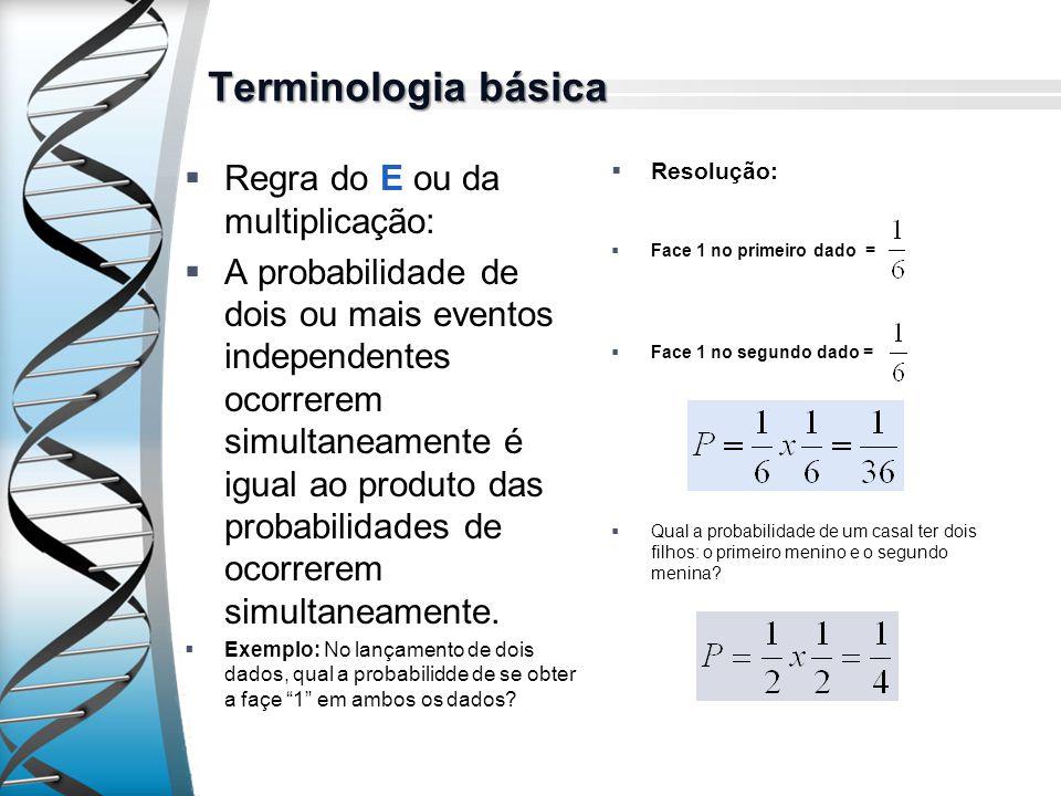 Terminologia básica Regra do E ou da multiplicação: A probabilidade de dois ou mais eventos independentes ocorrerem simultaneamente é igual ao produto