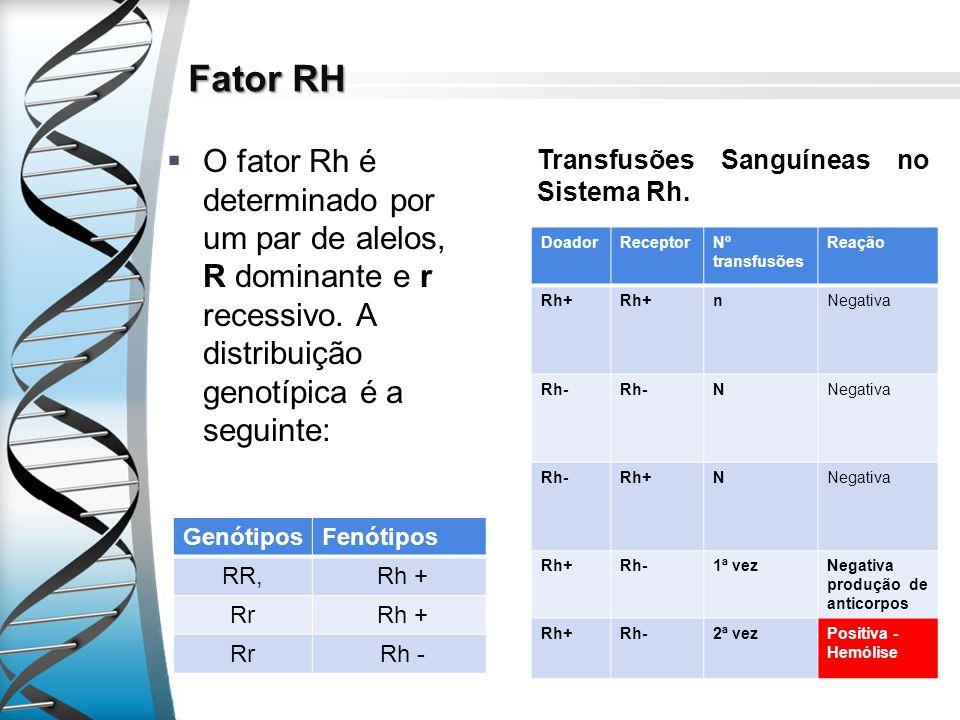 Fator RH O fator Rh é determinado por um par de alelos, R dominante e r recessivo. A distribuição genotípica é a seguinte: GenótiposFenótipos RR, Rh +