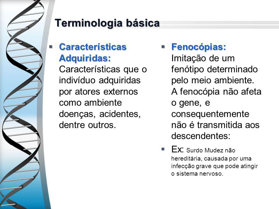Terminologia básica Características Adquiridas: Características Adquiridas: Características que o indivíduo adquiridas por atores externos como ambien