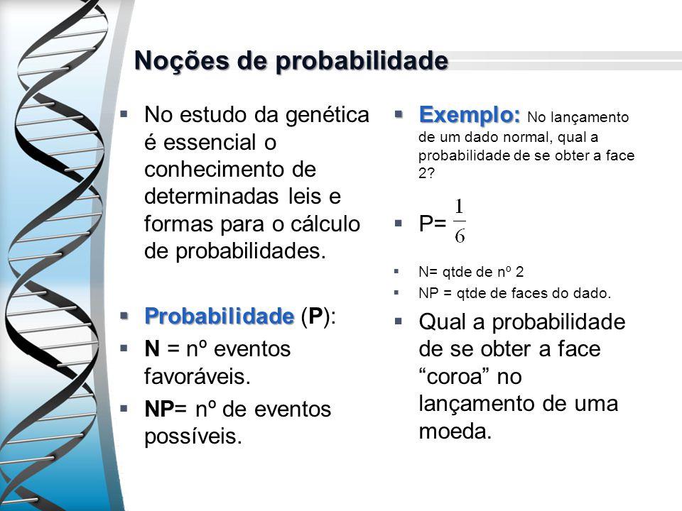 Noções de probabilidade No estudo da genética é essencial o conhecimento de determinadas leis e formas para o cálculo de probabilidades. Probabilidade