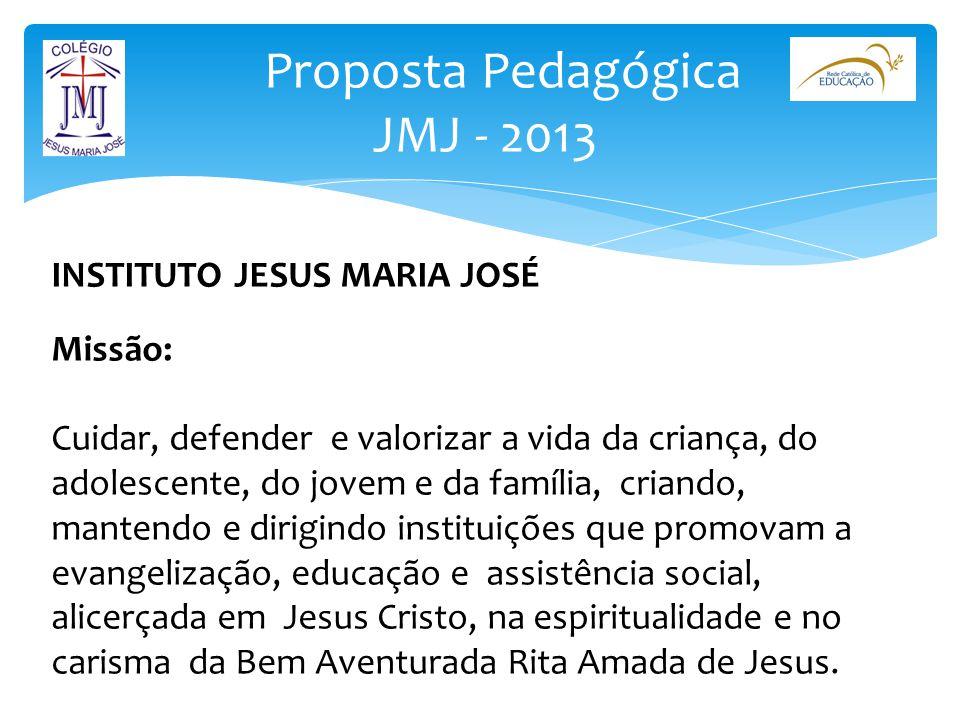 Proposta Pedagógica JMJ - 2013 INSTITUTO JESUS MARIA JOSÉ Missão: Cuidar, defender e valorizar a vida da criança, do adolescente, do jovem e da famíli