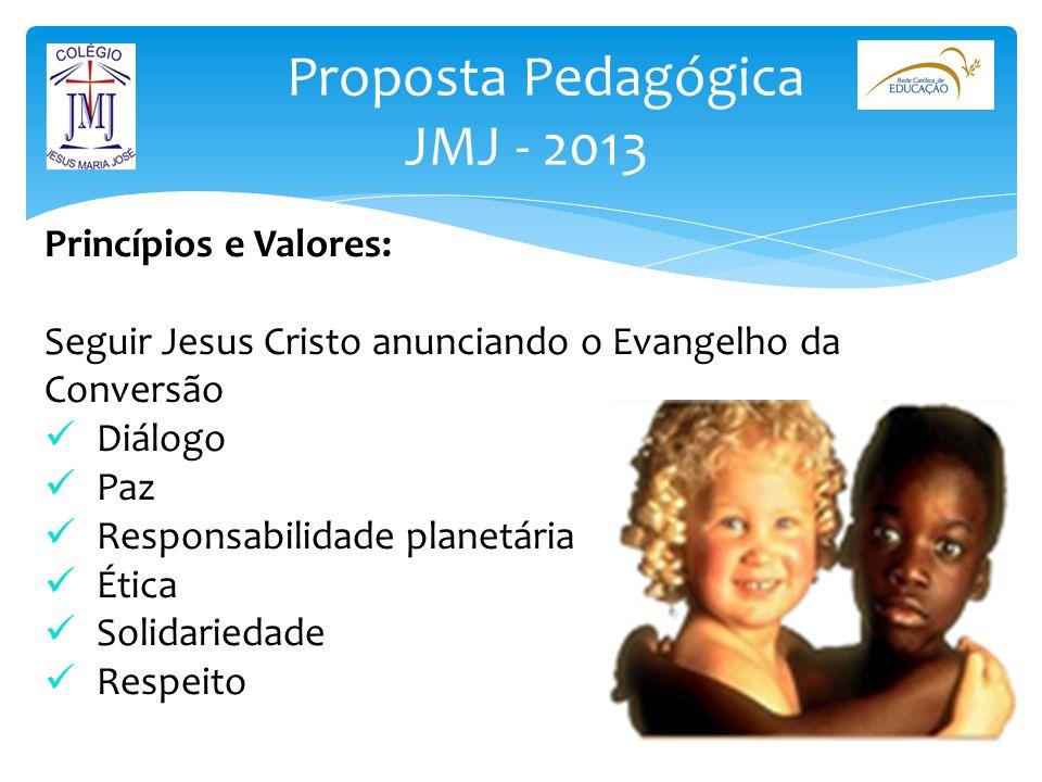 Proposta Pedagógica JMJ - 2013 Princípios e Valores: Seguir Jesus Cristo anunciando o Evangelho da Conversão Diálogo Paz Responsabilidade planetária É