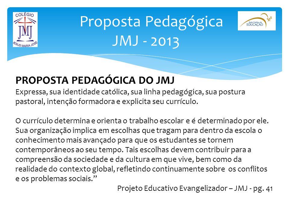 Proposta Pedagógica JMJ - 2013 PROPOSTA PEDAGÓGICA DO JMJ Expressa, sua identidade católica, sua linha pedagógica, sua postura pastoral, intenção form