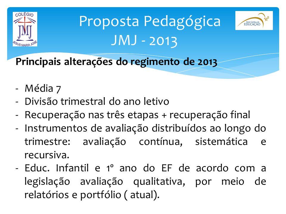 Proposta Pedagógica JMJ - 2013 Principais alterações do regimento de 2013 -Média 7 -Divisão trimestral do ano letivo -Recuperação nas três etapas + re