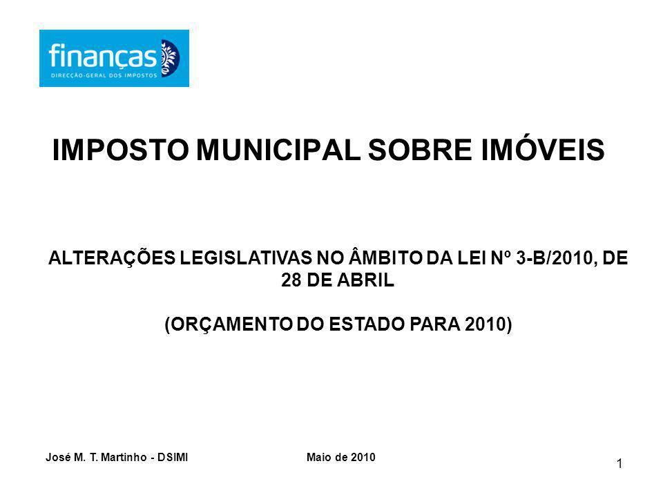 1 IMPOSTO MUNICIPAL SOBRE IMÓVEIS ALTERAÇÕES LEGISLATIVAS NO ÂMBITO DA LEI Nº 3-B/2010, DE 28 DE ABRIL (ORÇAMENTO DO ESTADO PARA 2010) José M.