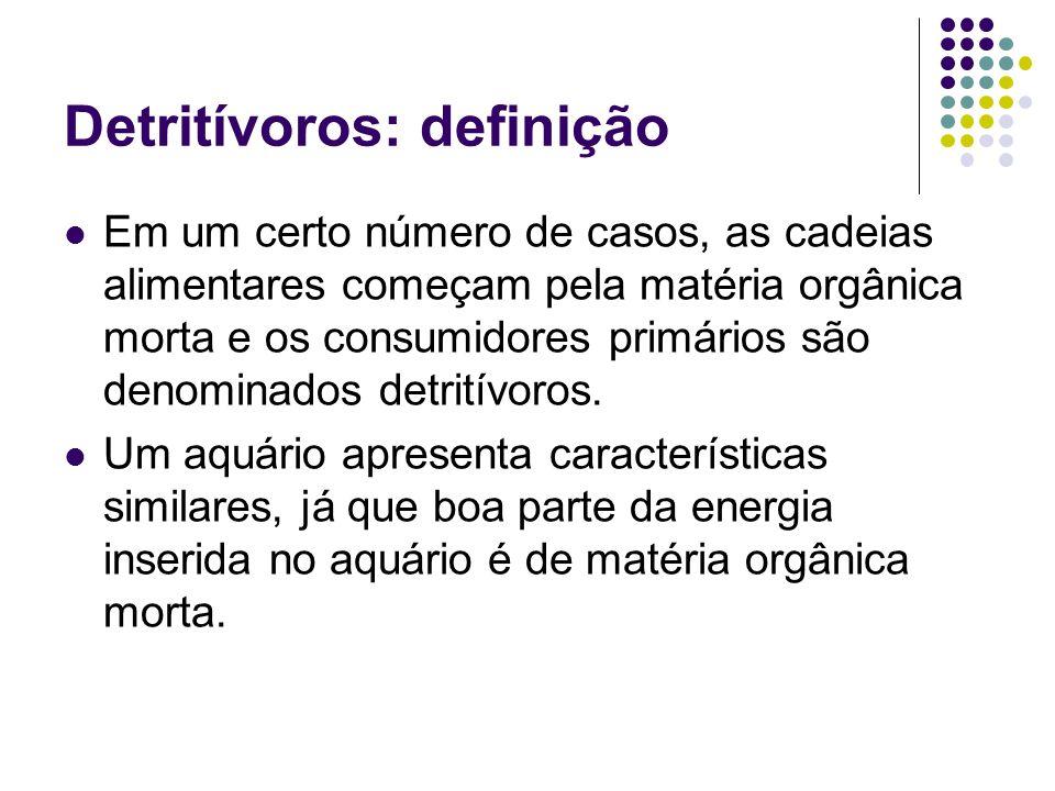 Detritívoros: definição Em um certo número de casos, as cadeias alimentares começam pela matéria orgânica morta e os consumidores primários são denomi