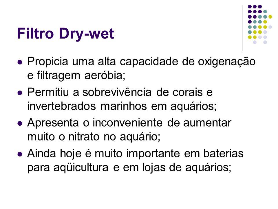 Filtro Dry-wet Propicia uma alta capacidade de oxigenação e filtragem aeróbia; Permitiu a sobrevivência de corais e invertebrados marinhos em aquários