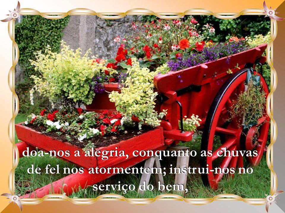 doa-nos a alegria, conquanto as chuvas de fel nos atormentem; instrui-nos no serviço do bem,