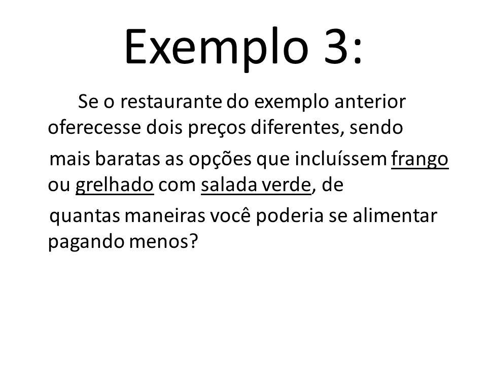 Fazendo a contagem pelo princípio multiplicativo E 1 E 2 E 3 4. 2. 3 = 24 p. q. sal. Sobr. 24 maneiras de fazer as escolhas E 1, E 2 e E 3, ou seja, 2