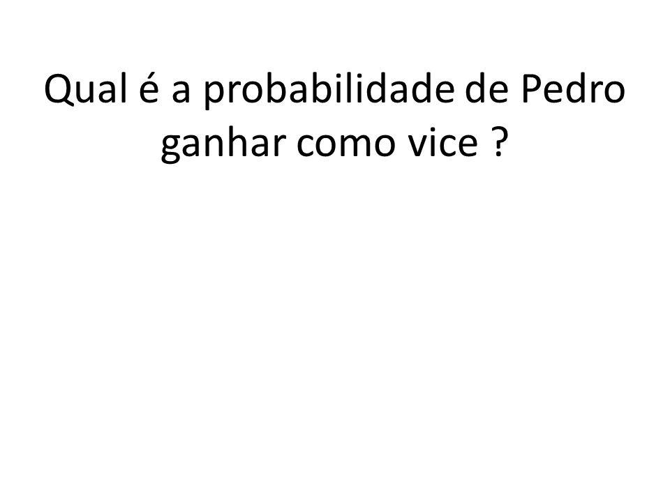 b) Quantos resultados apresentam Pedro como vice? E 2 E 1 E 3 19. 1. 18 = 342 presi. vice gov. 342 resultados com Pedro como vice.
