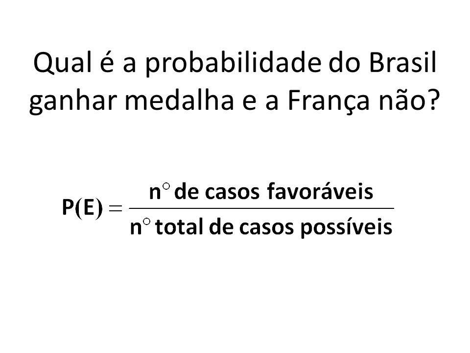 Qual é a probabilidade do Brasil ganhar medalha e a França não?