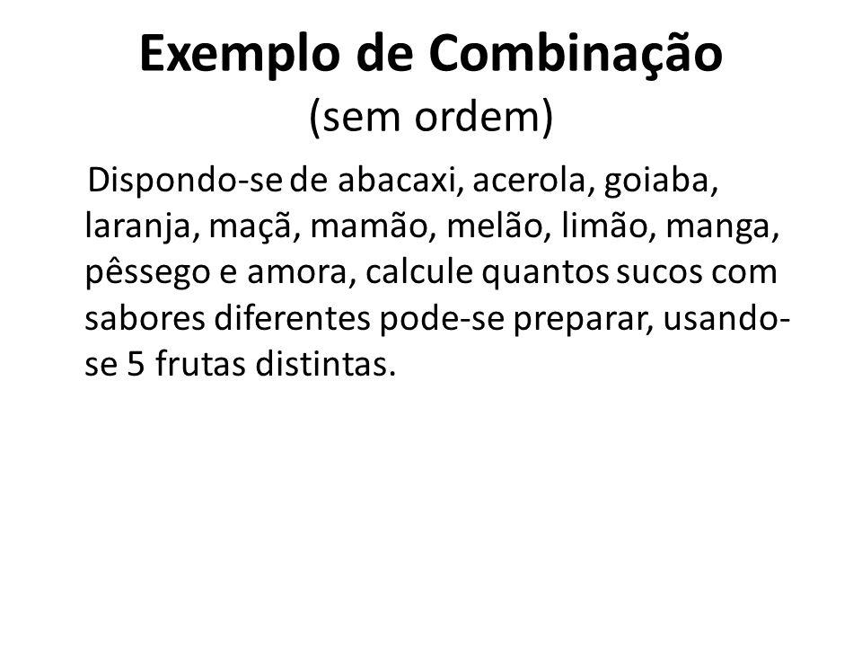 Exemplo de Combinação (sem ordem) Quantos grupos de 4 alunos podemos formar em uma sala de 30 alunos? 30. 29. 28. 27 657720 = = 27405 4. 3. 2. 1 24 gr