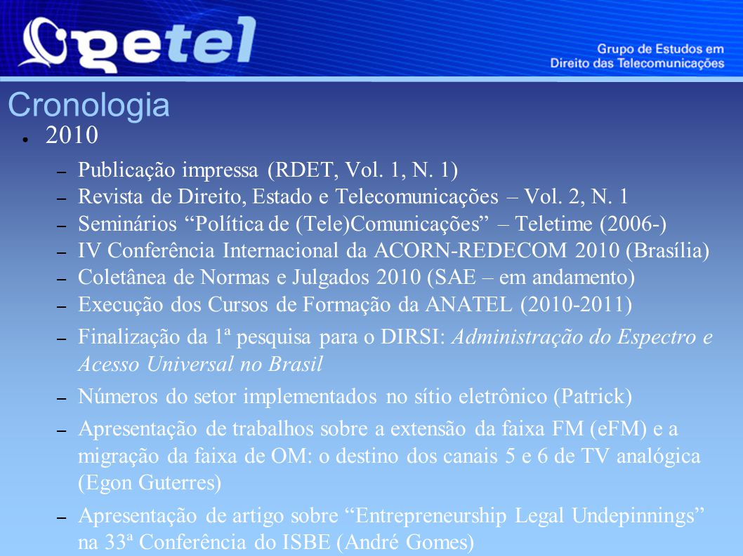 Cronologia 2010 – Publicação impressa (RDET, Vol. 1, N.