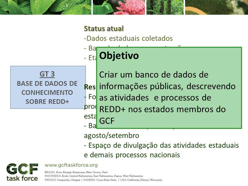 GT 3 BASE DE DADOS DE CONHECIMENTO SOBRE REDD+ Status atual -Dados estaduais coletados - Base de dados em construção - Etapa de finalização e validaçã