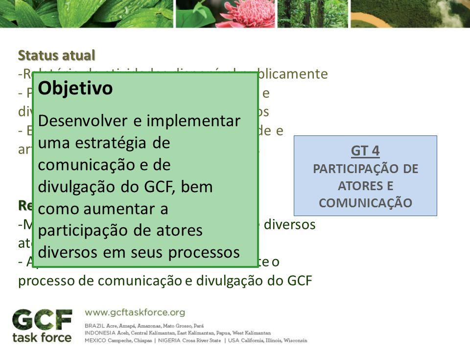 GT 4 PARTICIPAÇÃO DE ATORES E COMUNICAÇÃO Status atual -Relatório de atividades disponível publicamente - Processo constante de transparência e divulg