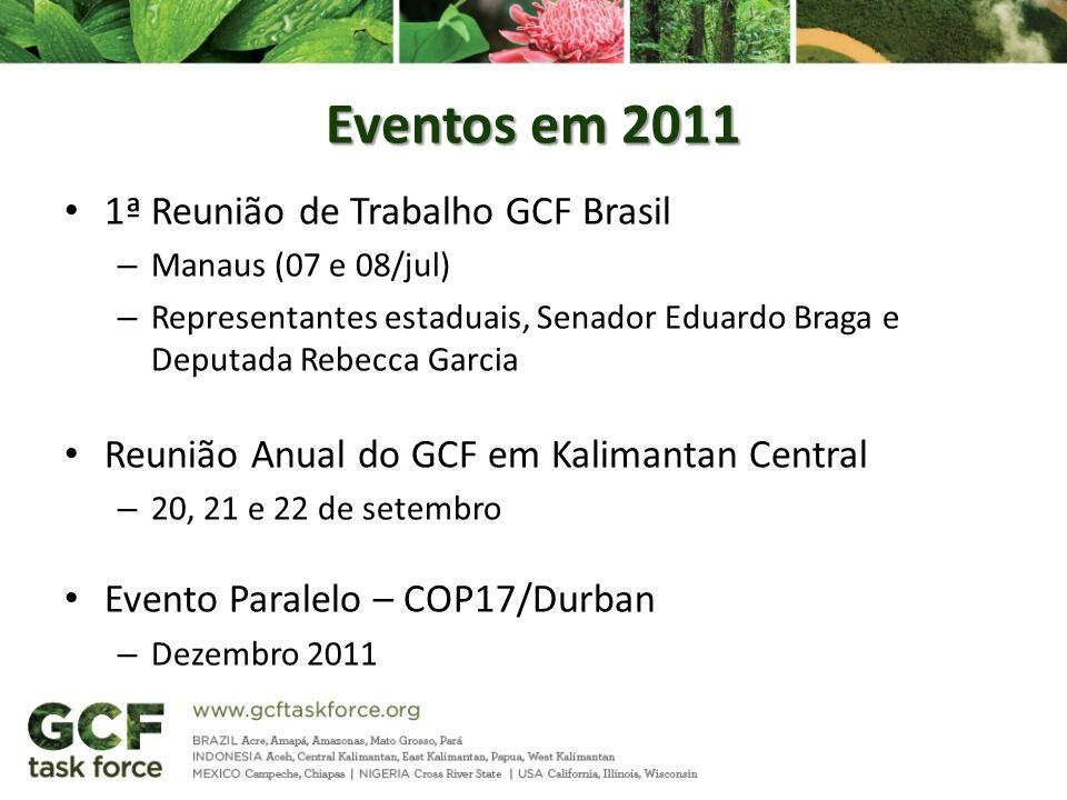 Eventos em 2011 1ª Reunião de Trabalho GCF Brasil – Manaus (07 e 08/jul) – Representantes estaduais, Senador Eduardo Braga e Deputada Rebecca Garcia R