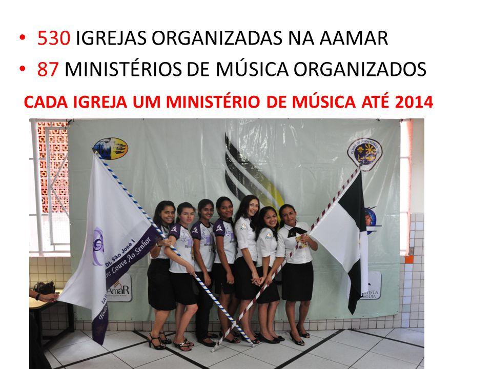 530 IGREJAS ORGANIZADAS NA AAMAR 87 MINISTÉRIOS DE MÚSICA ORGANIZADOS CADA IGREJA UM MINISTÉRIO DE MÚSICA ATÉ 2014